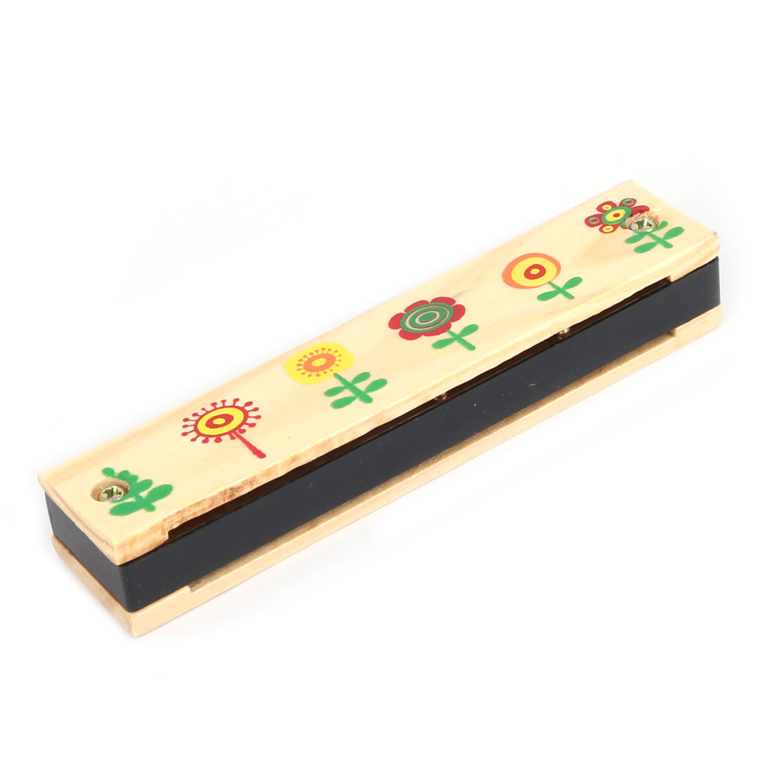 Unique BargainsWooden Flower Pattern Early Education Dual Rows Harmonica Musical Instrument - image 1 of 3