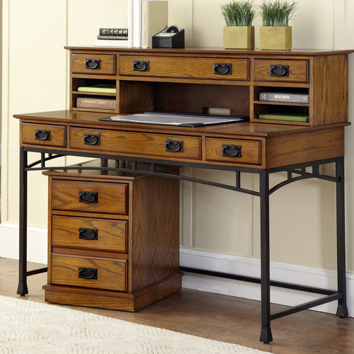 Home Styles Modern Craftsman Computer Desk with Keyboard Tray and Hutch