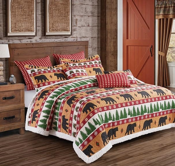 Winter Bear Rustic Burn Orange and White Quilt and Sham Set - Queen / Full Size