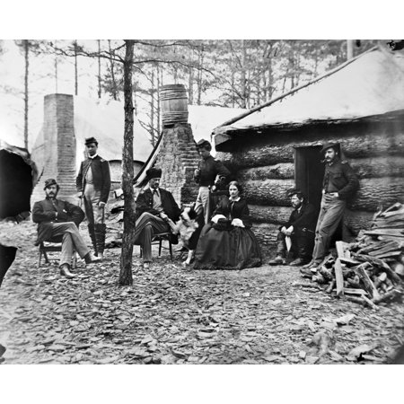 Civil War Brandy Station Nofficers And A Lady At The Headquarters Of 1St Brigade Horse Artillery At The Winter Quarters Of The Army Of The Potomac At Brandy Station Virginia Photograph By James F Gibs