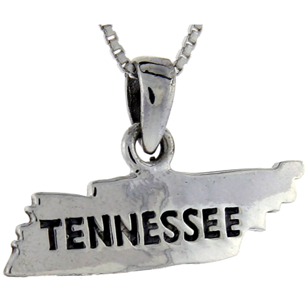 Sterling Silver Tennessee State Map Pendant, 5/8 inch tall