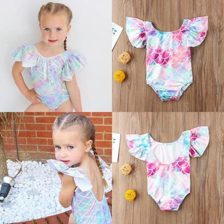 4f34ecec3 Canis - Kids Baby Girls Ruffle Mermaid Swimsuit Swimwear Bikini Beachwear Clothes  Outfit - Walmart.com