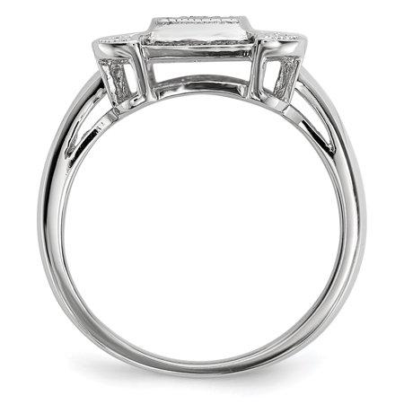 Sterling Silver Black & White Diamond Ring Size 8 - image 2 de 3