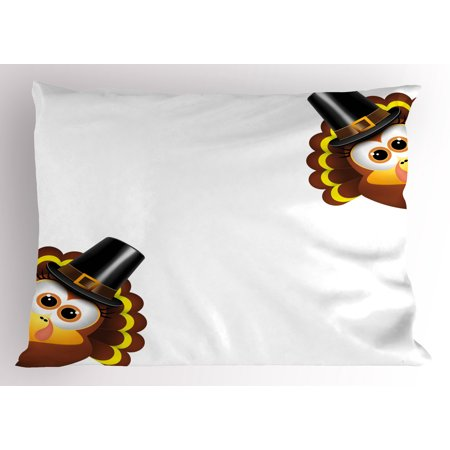 Sully Hat (Turkey Pillow Sham Silly Turkey Cartoon Animal Characters with Pilgrims Hat Autumn Feast Day, Decorative Standard Queen Size Printed Pillowcase, 30 X 20 Inches, Brown Black Yellow, by)
