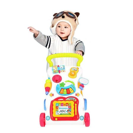 Karmasfar Product Sit-to-Stand First Steps Early Learning Walker for Baby, Multifunctional Anti-Rollover Baby Trolley with Music