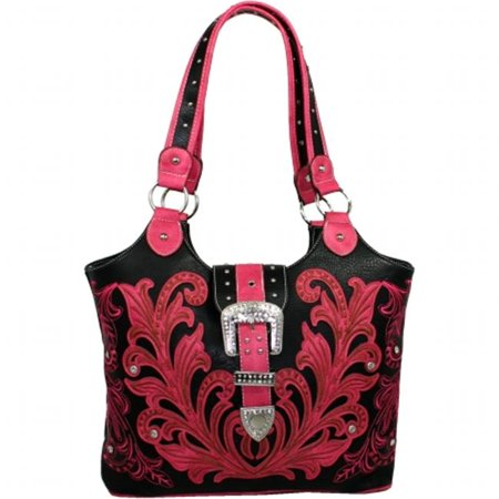 Ritz Enterprises BT951-FU Western Embriodered Rhinestone Buckle Accent Purse Handbag, Fuchsia