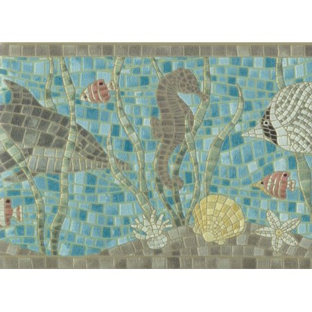 878288 Under the Sea Creatures Mosaic Wallpaper Border for $<!---->