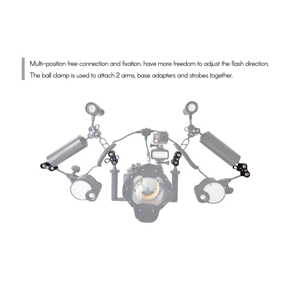 BGNing Underwater Ball Clamp Diving Ball Fixture Lights Arm Ball Three-Hole Butterfly Clip Triple Clamp Adapter Red