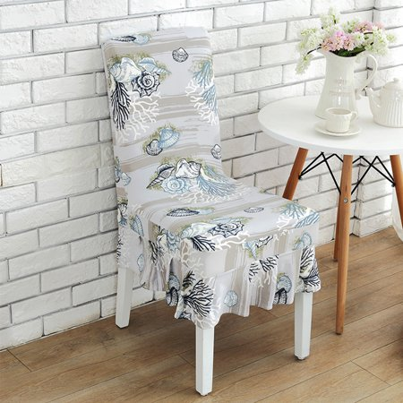 Removable Chair Cover Stretch Ruffled Elastic Slipcover Anti-dirty for Dining Banquet Wedding - Ruffled Chair Covers