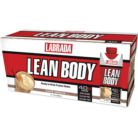 Labrada Lean Body Ready to Drink Protein Shakes, Café Mocha, 40g Protein, 17 Fl Oz, 12 (Best Protein For Lean Muscle)