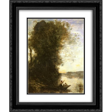Womens In The Bank (Camille Corot 2x Matted 20x24 Black Ornate Framed Art Print 'The Boatman Left the Bank with a Woman and a Child Sitting in his Boat,)