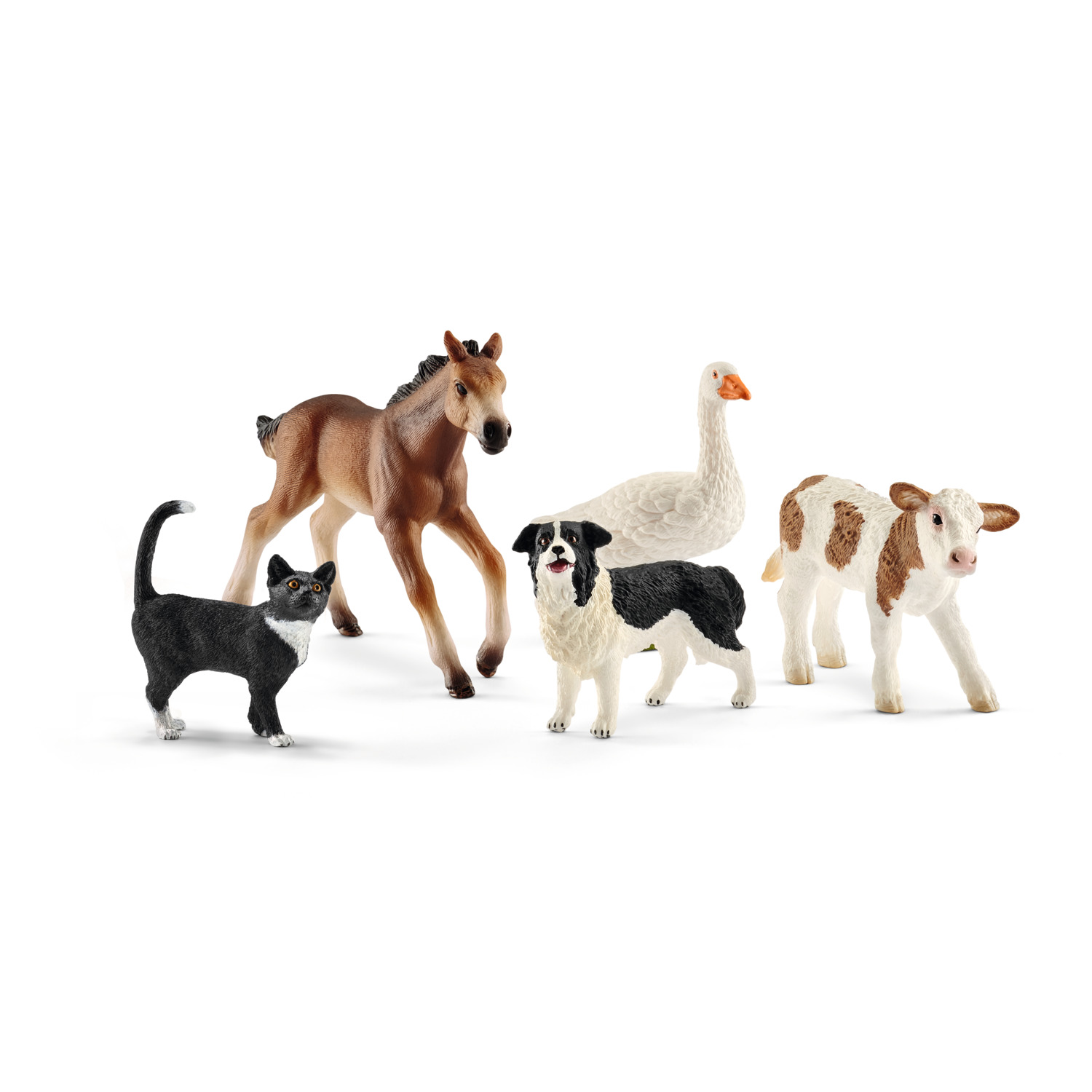 Schleich Farm World, Farm Animals (Dog, Cat, Horse, Cow, Duck) Toy Figures by Schleich USA Inc
