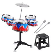 Suzicca Kid Jazz Drum Set Single Drumhead 5PCS Drums with Cymbal Drumsticks Adjustable Stool Percussion Musical Instrument Toy Playset for Boy Girl Children Christmas Birthday Gift