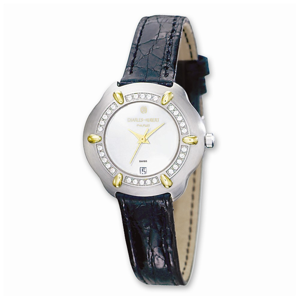 Ladies Charles Hubert 0.32ct Diamond/18k Crocodile White Dial Watch