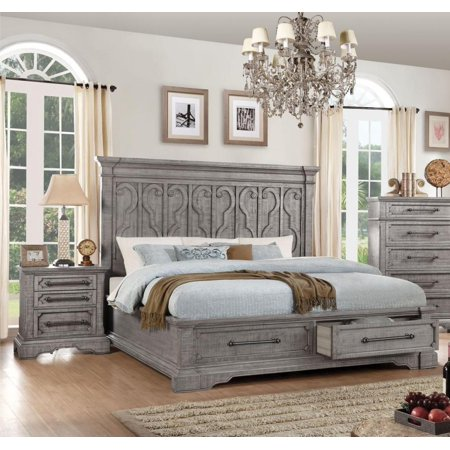 Salvaged Natural Storage Queen Bedroom Set 3Pcs Acme Furniture 27100Q  Artesia - Walmart.com
