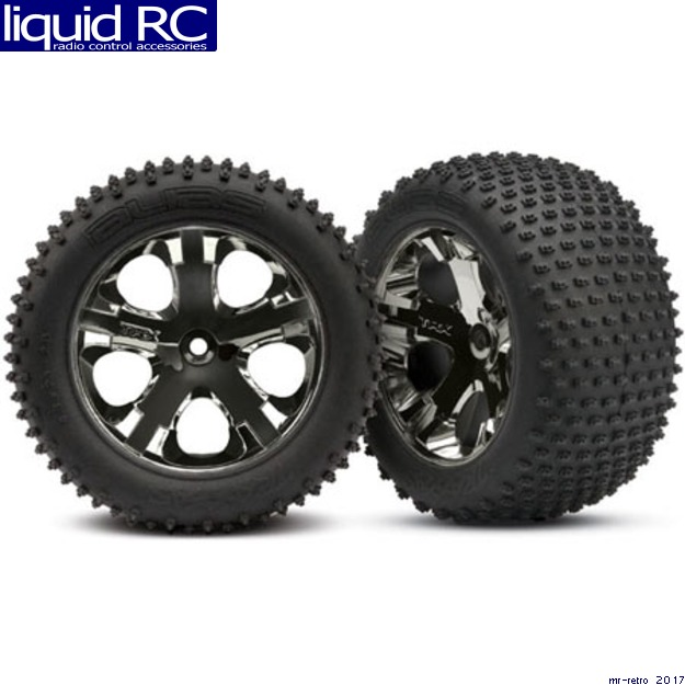 Traxxas All-Star Blk Chrome Whls w/ Alias Tires (2),R: VXL, TRA3770A