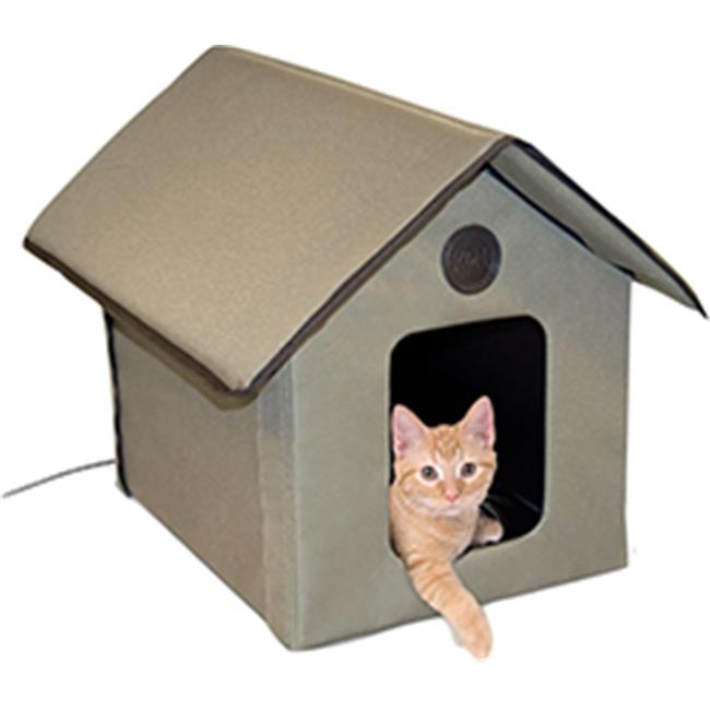 K&h Pet Products 043254 Outdoor Heated Kitty House, Olive