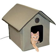 K Pet Products 043254 Outdoor Heated Kitty House, Olive