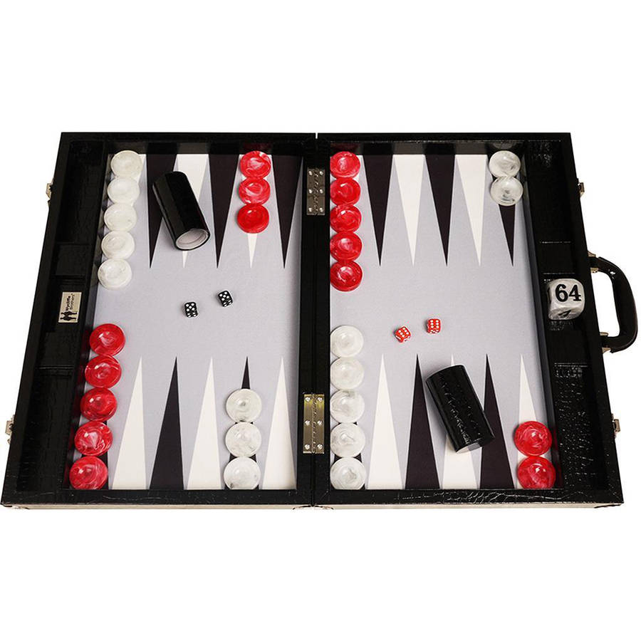 Wycliffe Brothers Tournament Backgammon Set, Black Croco with Grey Field, Gen III by