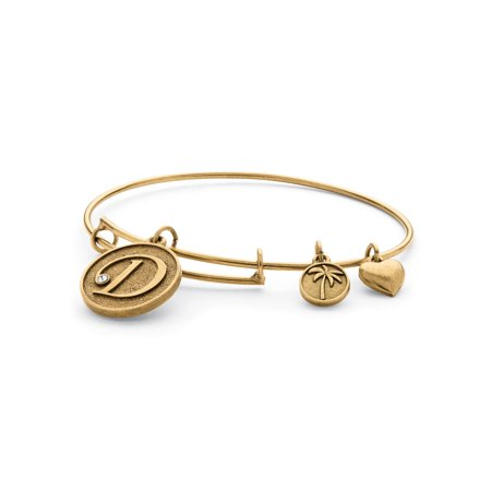 Antique Gold Bangles - Personalized Initial Charm Bangle MADE WITH SWAROVSKI ELEMENTS in Antiqued Gold Tone