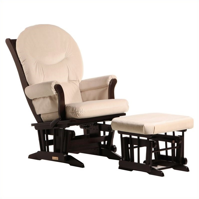 ULTRAMOTION by Dutailier Sleigh GliderReclinerMultiposition and Ottoman Set in Espresso and Light Beige