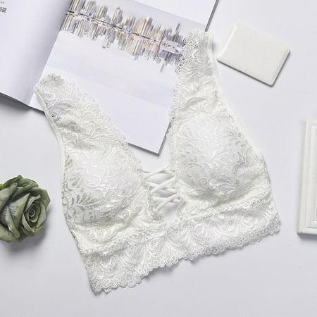 Women Sexy Intimates Lace Push-up Bra Padded Vest Bralette Crop Cami Tops Underwear White