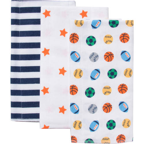 Gerber Flannel Burpcloths, Boy, 3-Pack