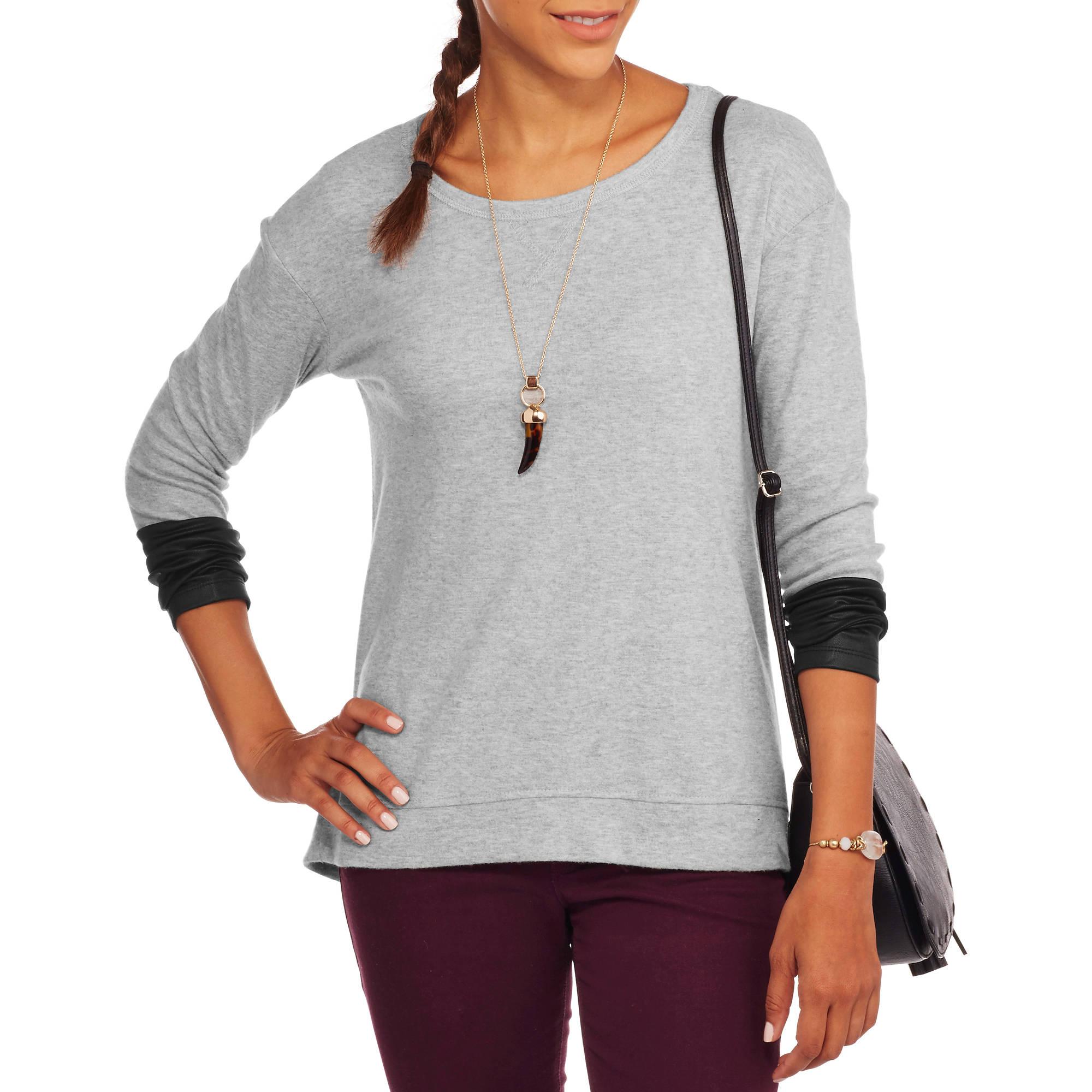 French Laundry Women's Cozy Fleece Fashion Sweatshirt With Contrast Cuffs