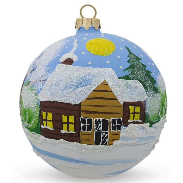 Bestpysanky Winter Village Forest Scene Glass Ball Christmas Ornament 4 Inches Walmart Com Walmart Com