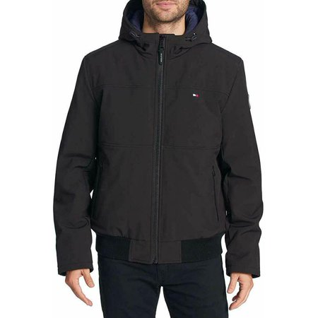Tommy Hilfiger Men's Soft-Shell Bomber Jacket with Hood, Black Large - NEW