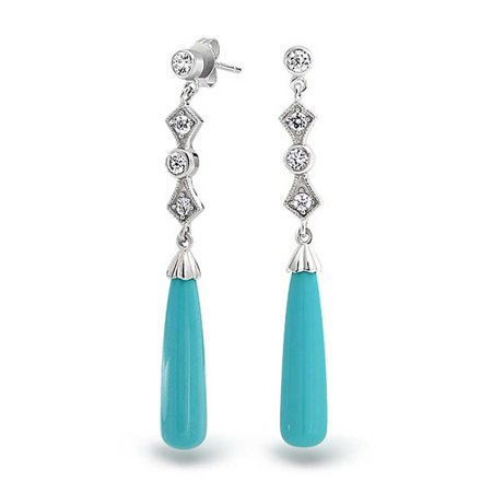 Cubic Zirconia Linear Teardrop Earring (Long Linear Cubic Zirconia CZ Blue Enhanced Turquoise Tear Drop Earrings For Women 925 Sterling)