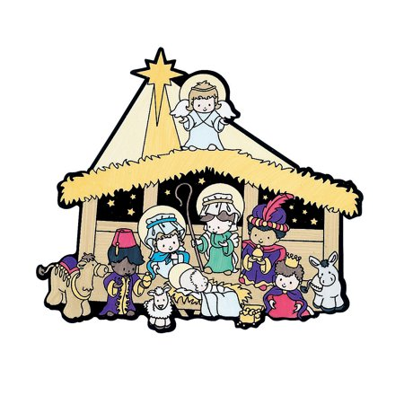 Fun Express - Cyo Fuzzy Nativity Scenes for Christmas - Craft Kits - CYO - Fuzzy - Misc CYO - Fuzzy - Christmas - 12 Pieces