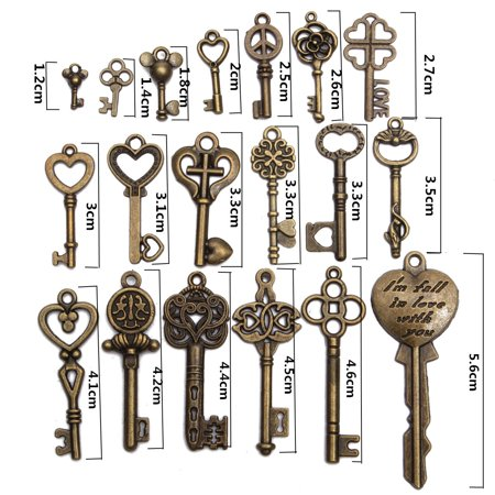 19PCS Antique Vintage Bronze Key Old Look Skeleton Pendant Steampunk Heart Bow Jewelry Gift