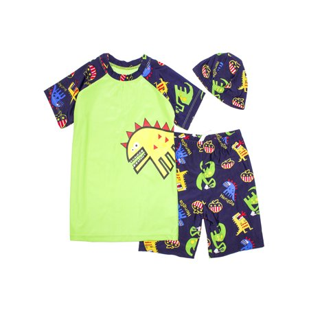 77fc64019f StylesILove - Kids Boy Cartoon Dinosaur Shark Rashguard Top & Swim Shorts  with Hat 3 pcs Set (Yellow Dinosaur/Green, M/3-5 Years) - Walmart.com