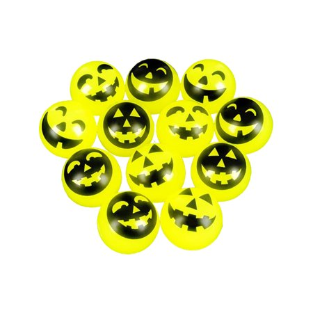 Halloween Jack-o-lantern Pumpkin Face Bouncy Balls Toy Party Favor Set Of 12 (Halloween Cheese Ball Face)