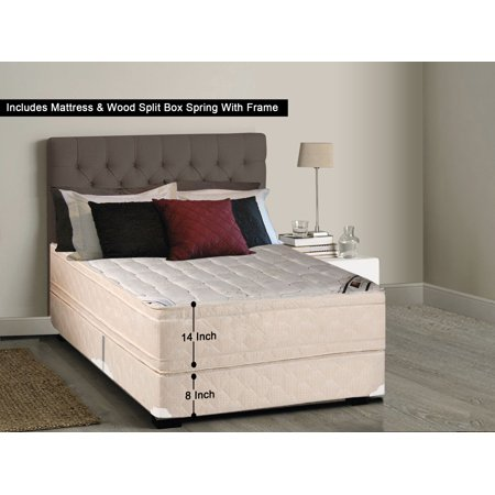 Diff Set Assembled - WAYTON, 14-inch Fully Assembled Firm Euro Top Innerspring Double Sided Mattress and Split Wood Box Spring/foundation set with Frame, |Twin Size|