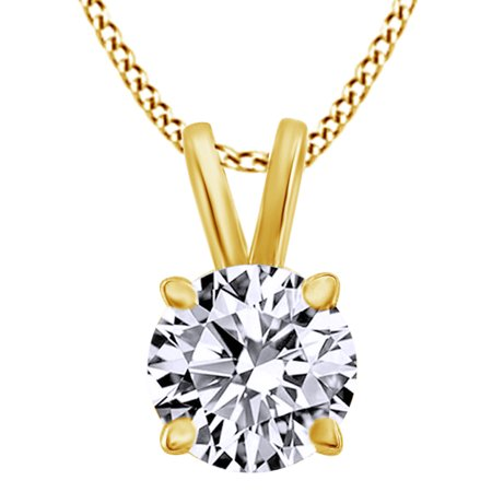 0.33 Ct Round Cut Natural Diamond Solitaire Pendant Necklace In 14K Solid Yellow Gold