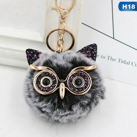 Fancyleo 1xCute Owl Faux Rabbit Fur Fluffy Keychain Key Ring Pompom Ball Pendant Gift ()