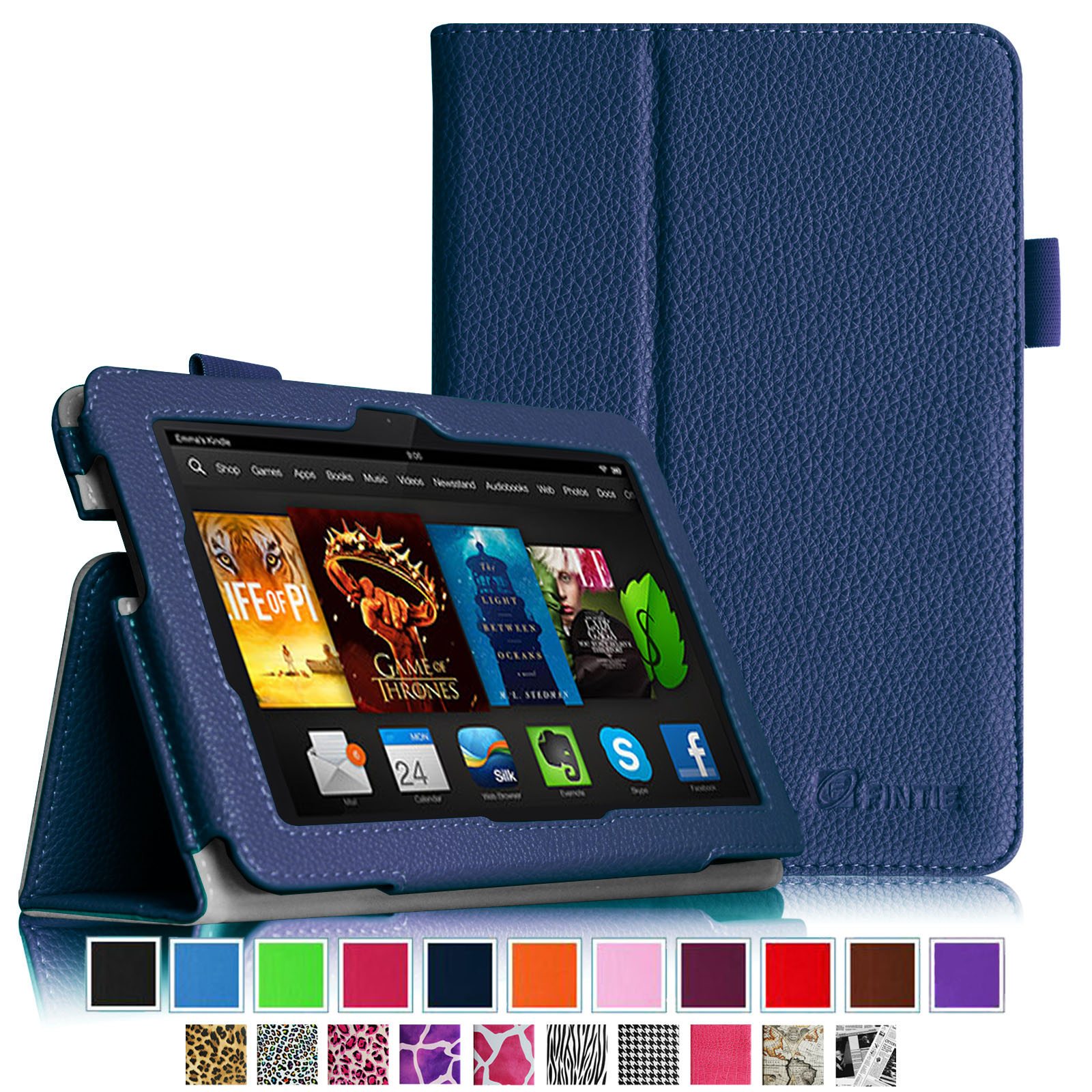 Fintie Folio Case for Kindle Fire HDX 7 - Slim Fit PU Leather Standing Cover with Auto Sleep/Wake, Navy