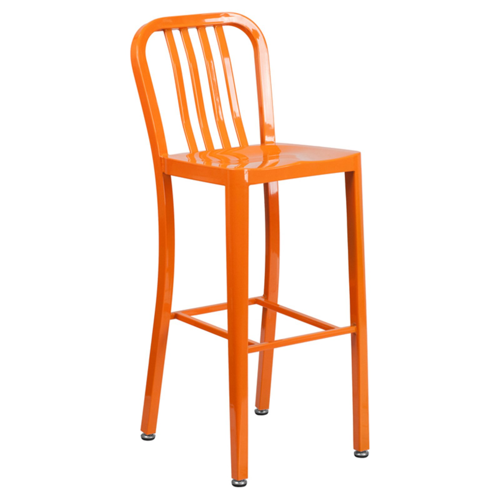 Flash Furniture 30'' High Metal Indoor-Outdoor Barstool with Vertical Slat Back, Multiple Colors