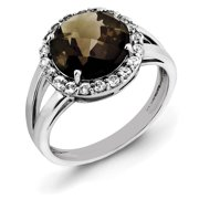 Primal Silver Sterling Silver Rhodium Smoky Quartz and White Topaz Ring