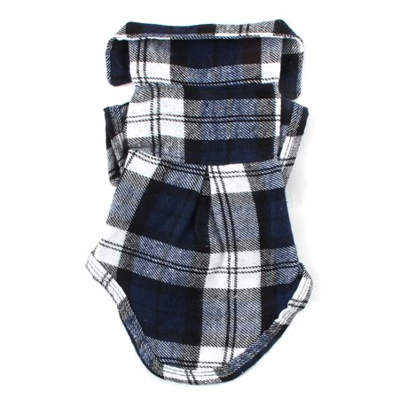 Dog Jacket Pattern (Pet Dog Cotton Blend Grid Pattern T-Shirt Lapel Vest Jacket Clothes Blue Size S)