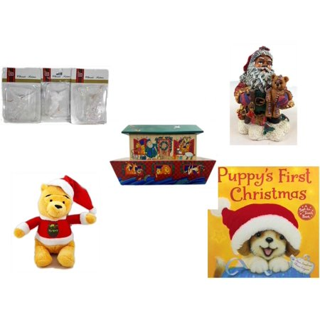 Hallmark Gift Trim (Christmas Fun Gift Bundle [5 Piece] - Brite Star Classic Trims Angel Ornament Set of 3 - K's Collection African-American Santa 5