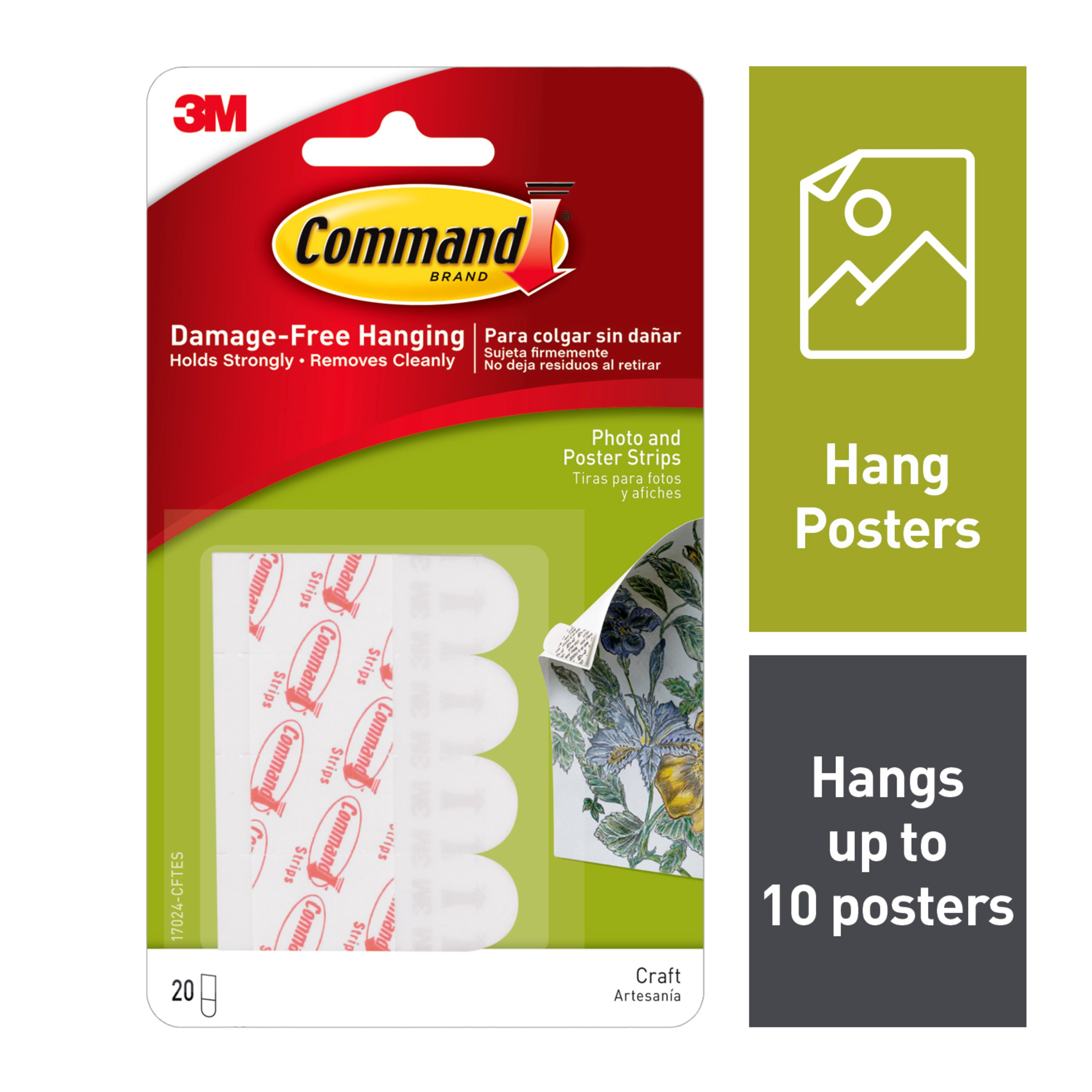 Command Poster Strips, White, Small, 20 Strips/Pack