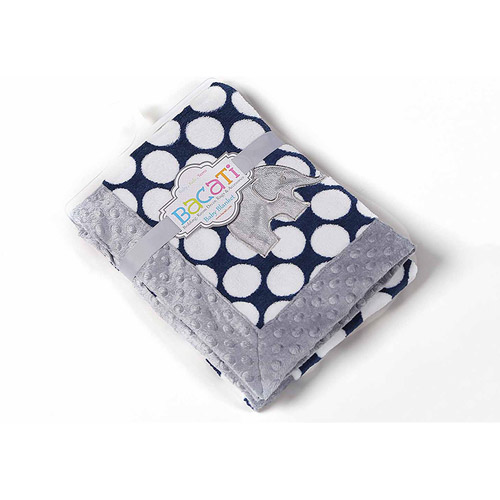Bacati - Elephants Navy Dots with Gray Border 30 x 40 inches Plush Embroidered Blanket, Blue/Gray