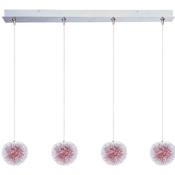 Xenon Multi Light Pendant with a Contemporary Aluminum And Red Shade and Brushed Aluminum Finish