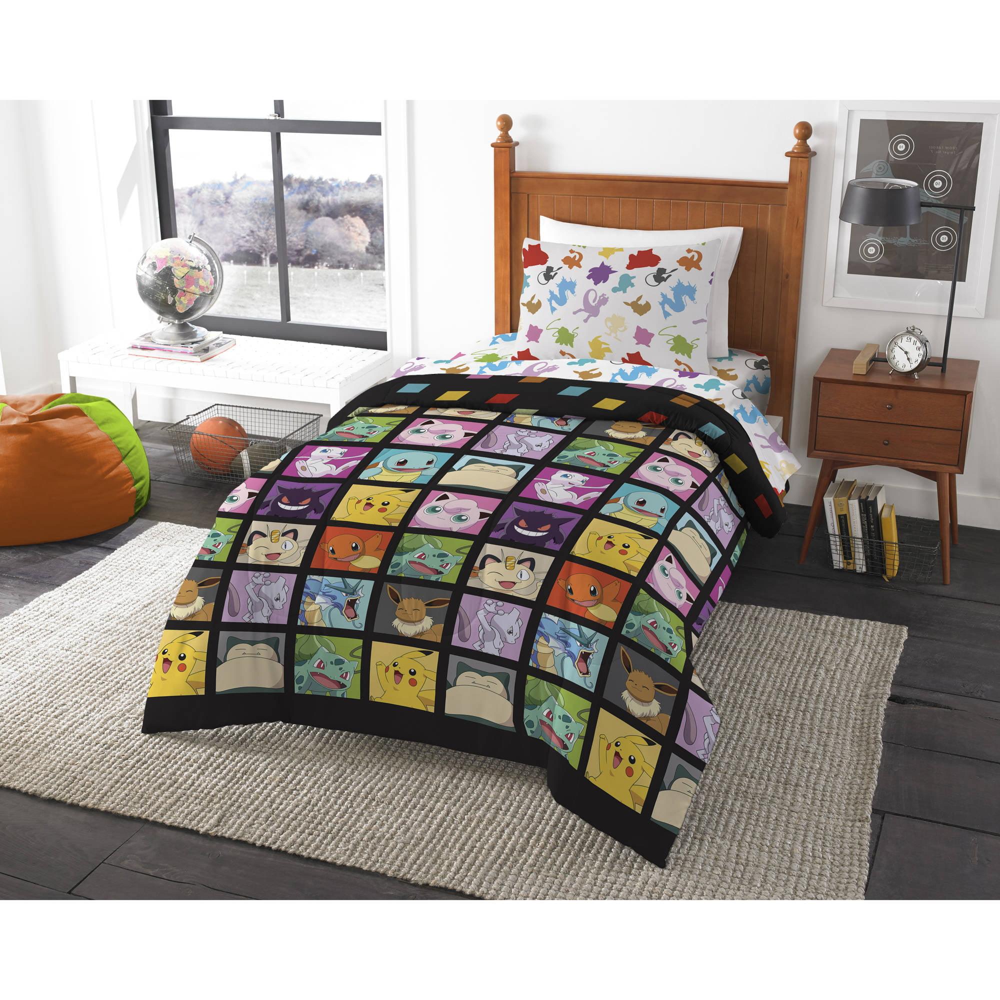 Pokemon Kanto Favorites 4 Piece Twin Bed Bag Bedding Full Set Comforter Sheet