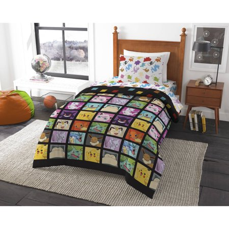 Pokemon u0022Kanto Favoritesu0022 4 Piece Twin Bed in a Bag Bedding Set- Includes Comforter and Sheet Set