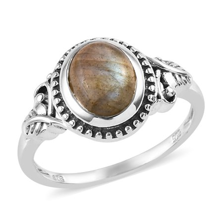 Solitaire Ring Sterling Silver Oval Labradorite Boho