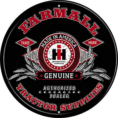 Farmall Tractor Signs - Farmall IH Tractor Supplies Round Tin Sign, Black